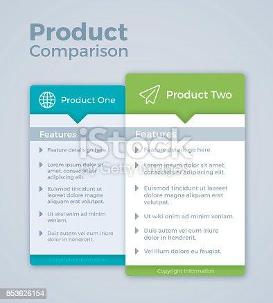 istock Two Product Comparison Marketing 853626154