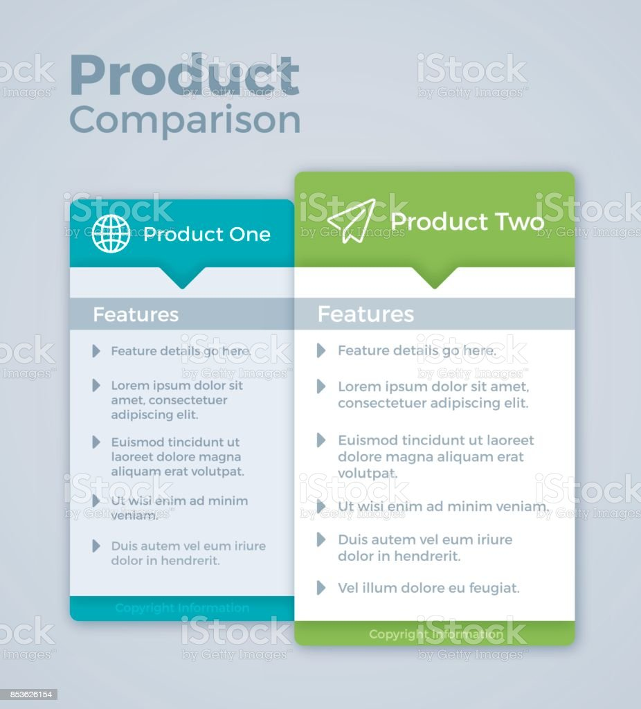 Two Product Comparison Marketing vector art illustration