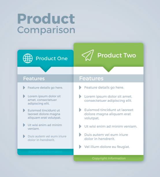 two product comparison marketing - klawisz option stock illustrations