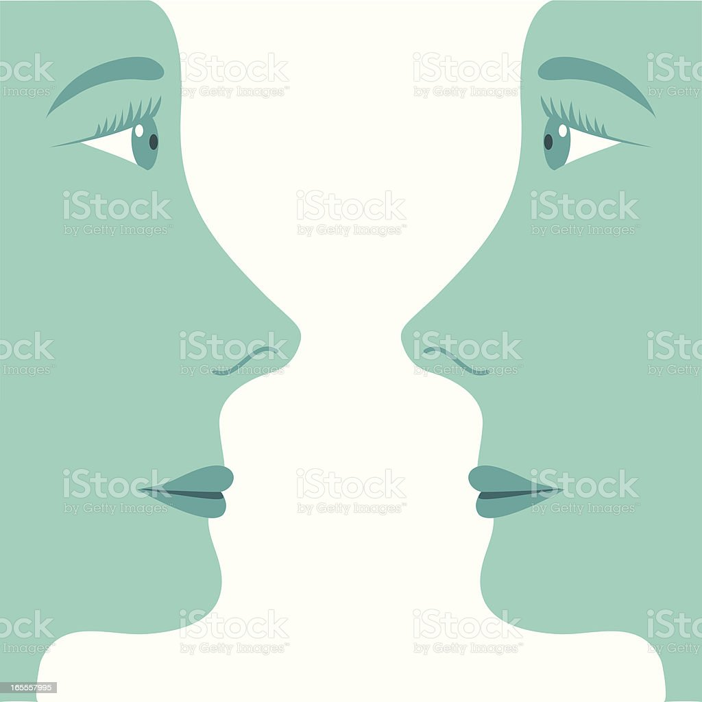 Two profiled faces looking at each other vector art illustration
