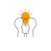 istock Two profiles and lamp icon 1248662985