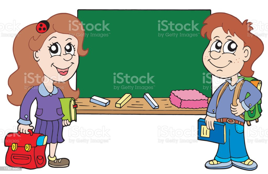 Two pupils with blackboard royalty-free stock vector art