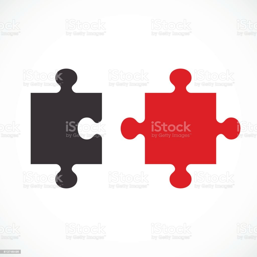 two puzzle concept vector art illustration