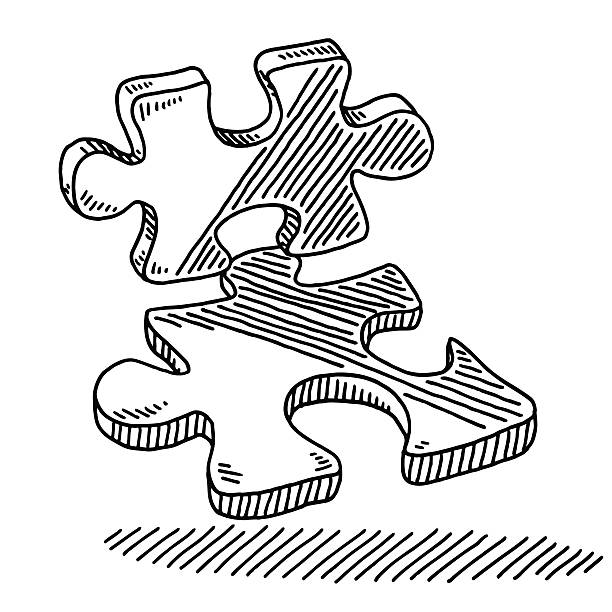 Two Puzzle Pieces Drawing Hand-drawn vector drawing of Two Puzzle Pieces. Black-and-White sketch on a transparent background (.eps-file). Included files are EPS (v10) and Hi-Res JPG. game stock illustrations