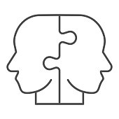 istock Two puzzle pieces form human head thin line icon. Puzzle male heads symbol, outline style pictogram on white background. Creative business sign for mobile concept and web design. Vector graphics. 1225016062