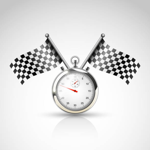 Two racing flags and stop watch Vector illustration of racing sign indy racing league indycar series stock illustrations