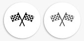Two Racing Flags Black and White Round Icon. This 100% royalty free vector illustration is featuring a round button with a drop shadow and the main icon is depicted in black and in grey for a roll-over effect.