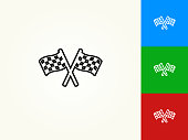 Two Racing Flags Black Stroke Linear Icon. This royalty free vector illustration is featuring a black outline linear icon on a light background. The stroke is editable and the width of the line can be easily adjusted. The icon can also be converted to have a black fill color. The download includes 3 additional versions of this icon on blue, green and red background.