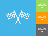 Two Racing Flags Flat Icon on Blue Background. The icon is depicted on Blue Background. There are three more background color variations included in this file. The icon is rendered in white color and the background is blue.