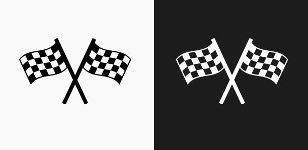Two Racing Flags Icon on Black and White Vector Backgrounds Two Racing Flags Icon on Black and White Vector Backgrounds. This vector illustration includes two variations of the icon one in black on a light background on the left and another version in white on a dark background positioned on the right. The vector icon is simple yet elegant and can be used in a variety of ways including website or mobile application icon. This royalty free image is 100% vector based and all design elements can be scaled to any size. auto racing stock illustrations