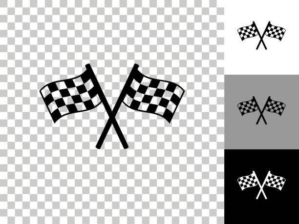Two Racing Flags Icon on Checkerboard Transparent Background vector art illustration