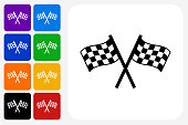Two Racing Flags Icon Square Button Set. The icon is in black on a white square with rounded corners. The are eight alternative button options on the left in purple, blue, navy, green, orange, yellow, black and red colors. The icon is in white against these vibrant backgrounds. The illustration is flat and will work well both online and in print.
