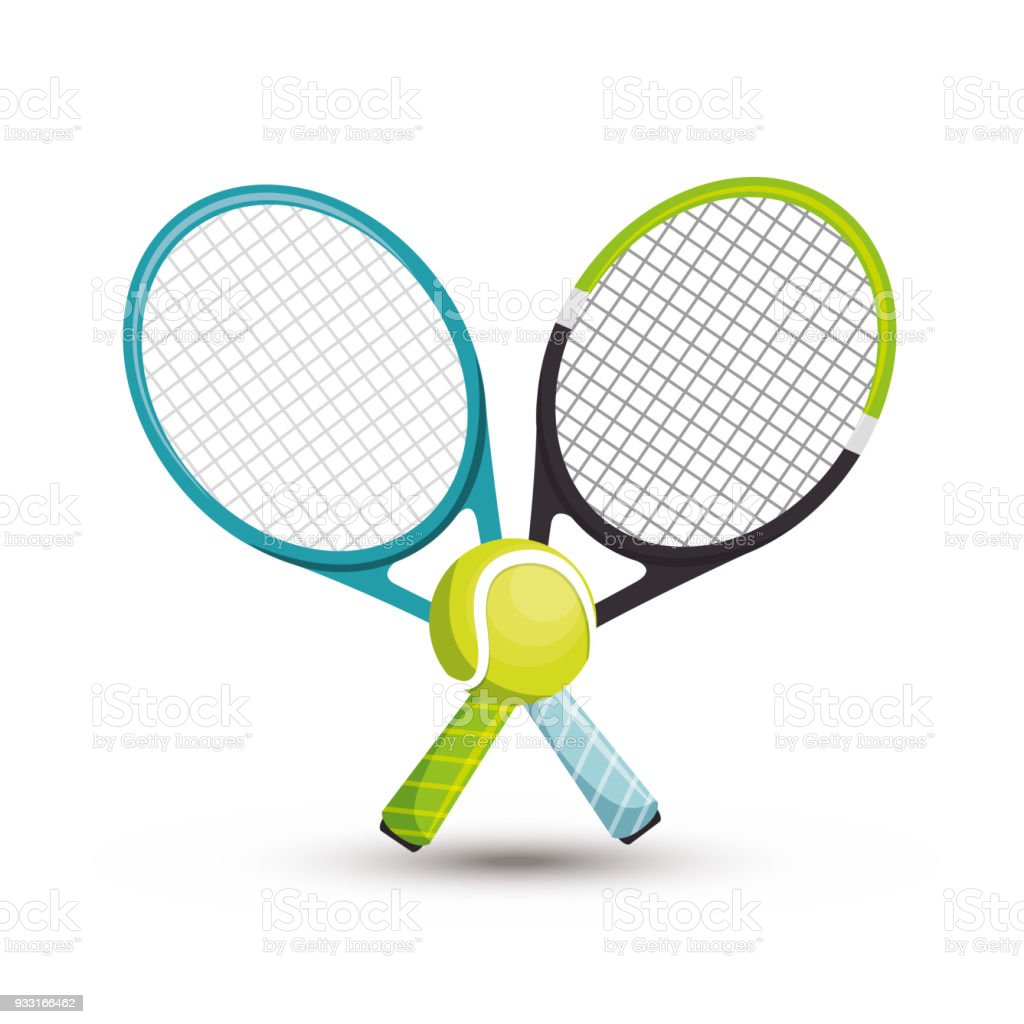 Two Racket Tennis Ball Icons Graphic Stock Vector Art More Images