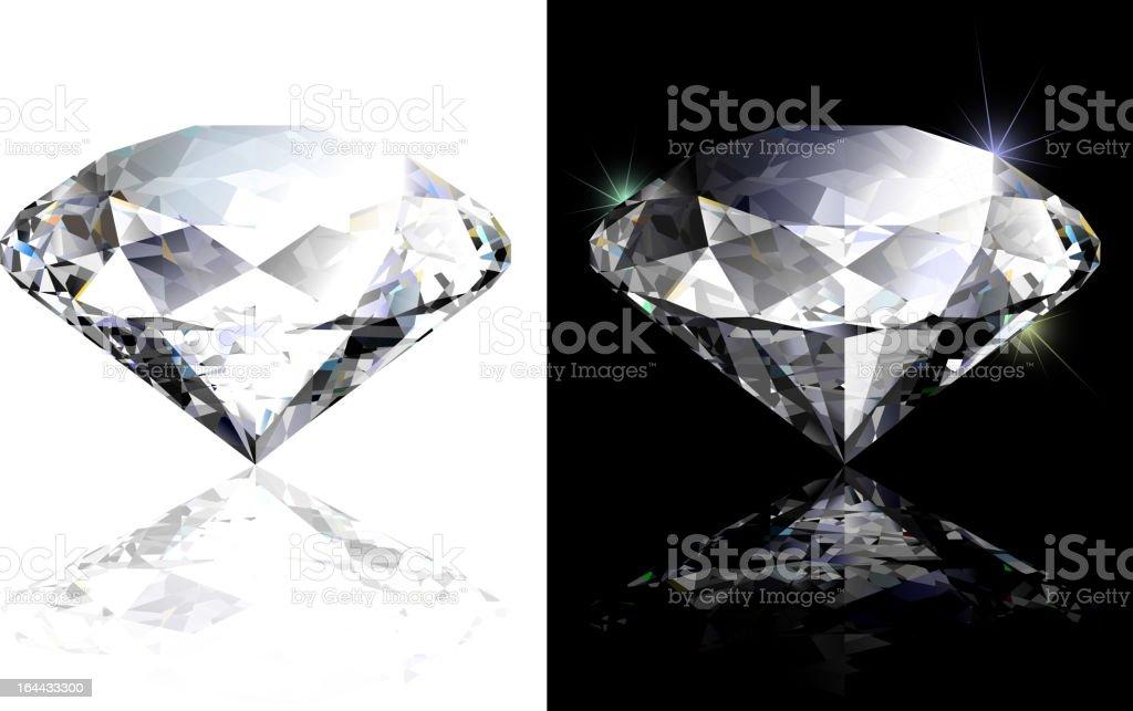 Two realistic diamond illustrations vector art illustration