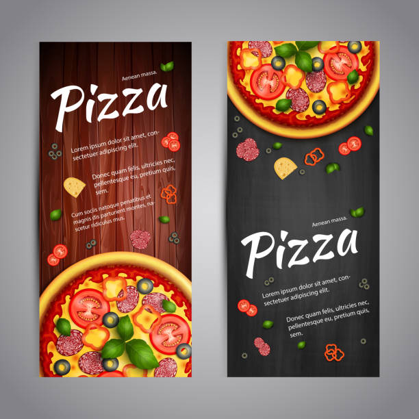 two realistic pizza vector flyer banners - 목재 재료 stock illustrations