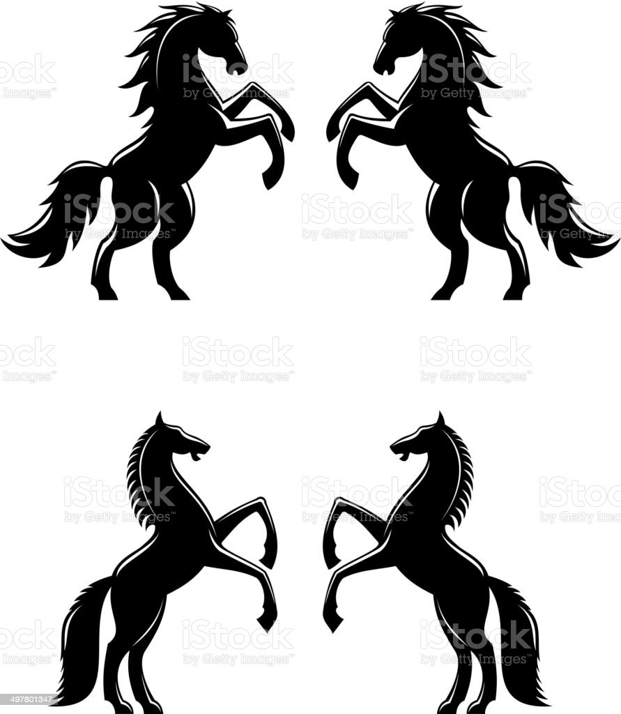 Two rearing up horses silhouettes vector art illustration