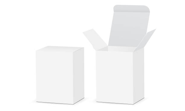 Two rectangular boxes mockups with open and closed lid Two rectangular boxes mockups with open and closed lid. Medical or cosmetic packaging. Vector illustration packing stock illustrations