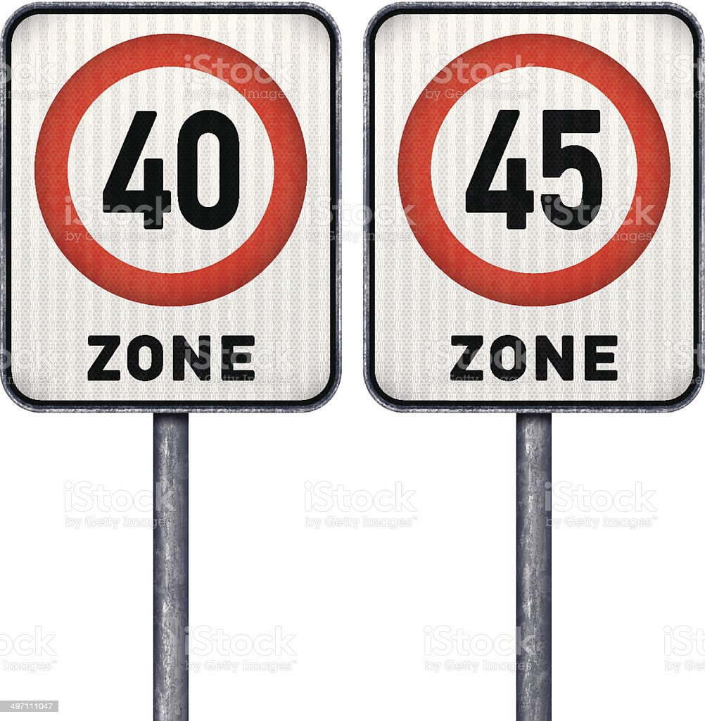 Two rectangular speed limit zone 40 and 45 road signs royalty-free two rectangular speed limit zone 40 and 45 road signs stock vector art & more images of black color