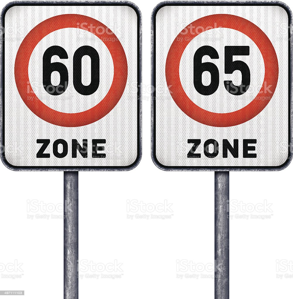 Two rectangular speed limit zone 60 and 65 road signs royalty-free two rectangular speed limit zone 60 and 65 road signs stock vector art & more images of black color
