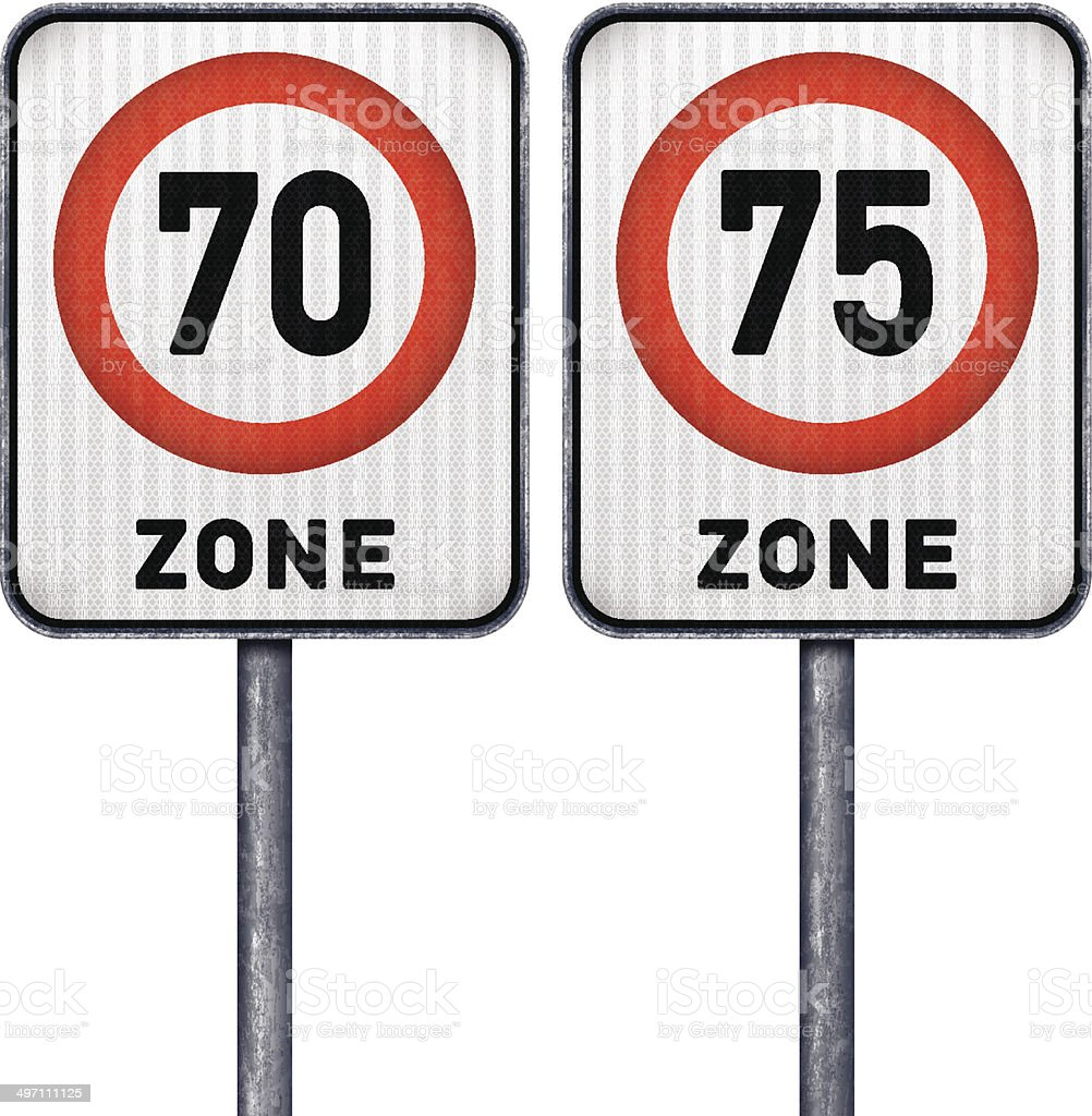 Two rectangular speed limit zone 70 and 75 road signs royalty-free stock vector art