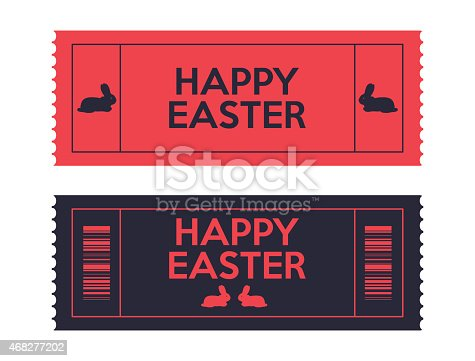 admit one Easter tickets with a special rabbit, vector illustration, eps10