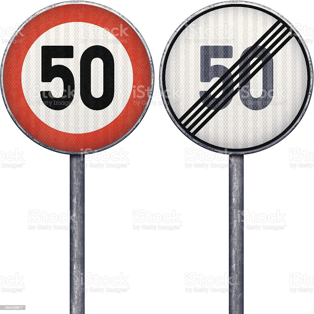 Two red and white maximum speed limit 50 road signs royalty-free stock vector art
