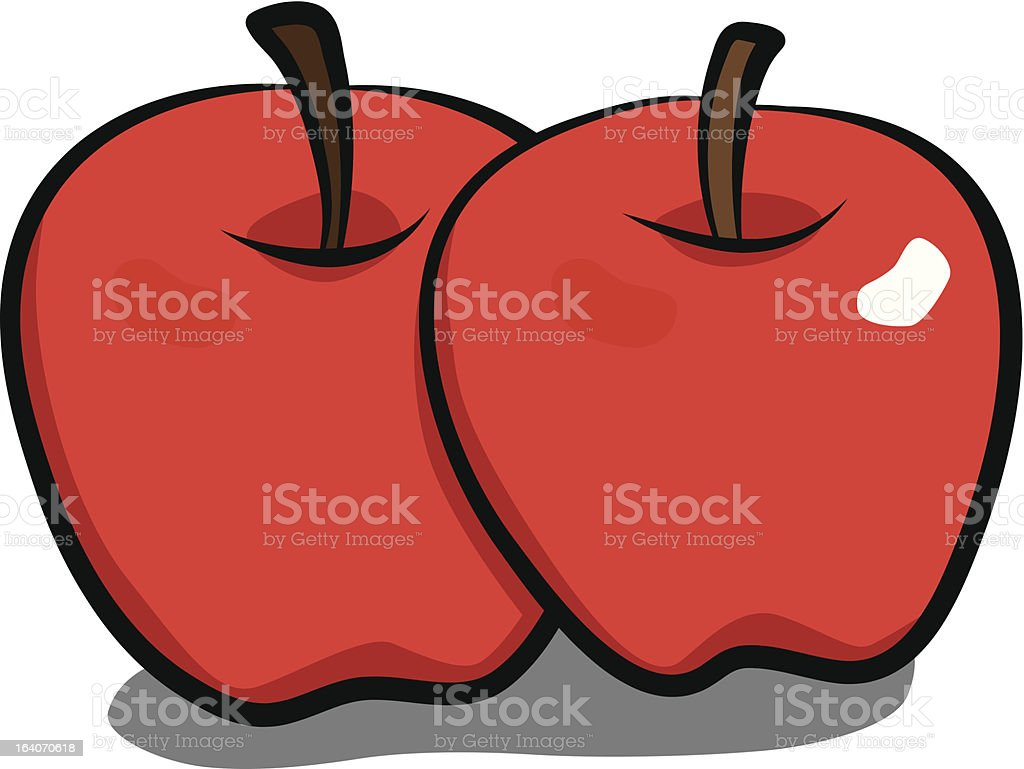 two red apples royalty-free two red apples stock vector art & more images of apple - fruit