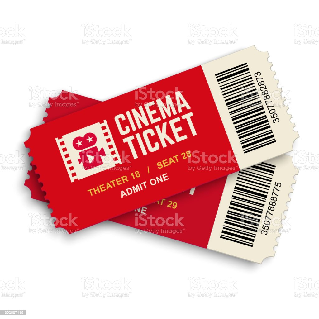 Two red cinema vector tickets. vector art illustration