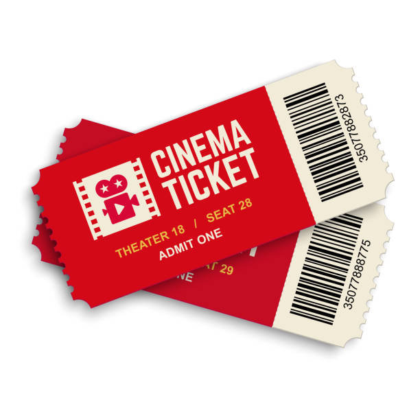 two red cinema vector tickets. - tickets and vouchers templates stock illustrations
