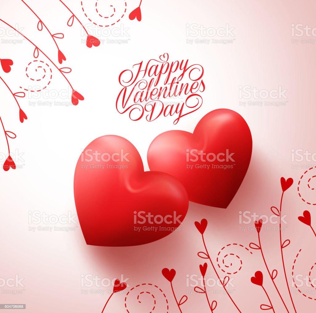Zwei Rote Herzen Fur Verliebte Parchen Mit Happy