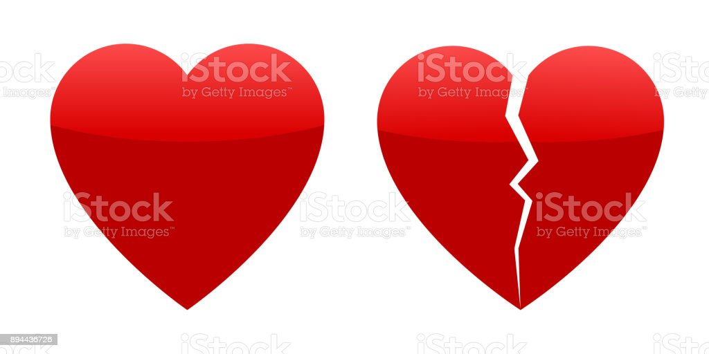 Two red hearts, whole and broken vector art illustration