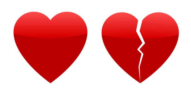 stockillustraties, clipart, cartoons en iconen met twee rode harten, gehele en gebroken - liefdesverdriet