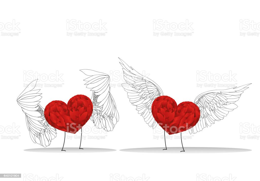 Two Red Hearts With Wings And Legs Meet Stock Illustration Download Image Now Istock