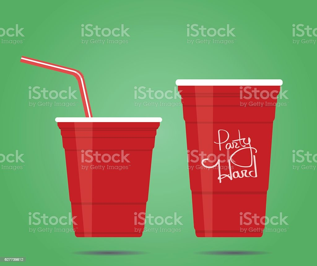 two red party cups vector art illustration