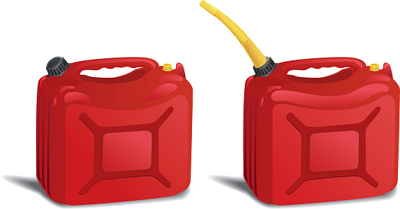 Two Red Plastic Gas Can Containers Isolated On White