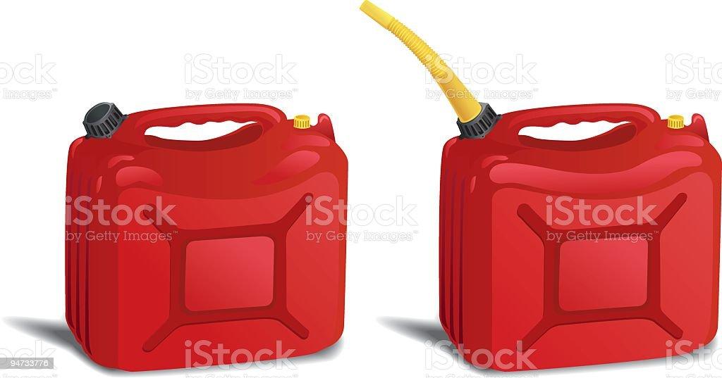 Zwei rote Kunststoff Benzinkanister Container isoliert auf weiss – Vektorgrafik