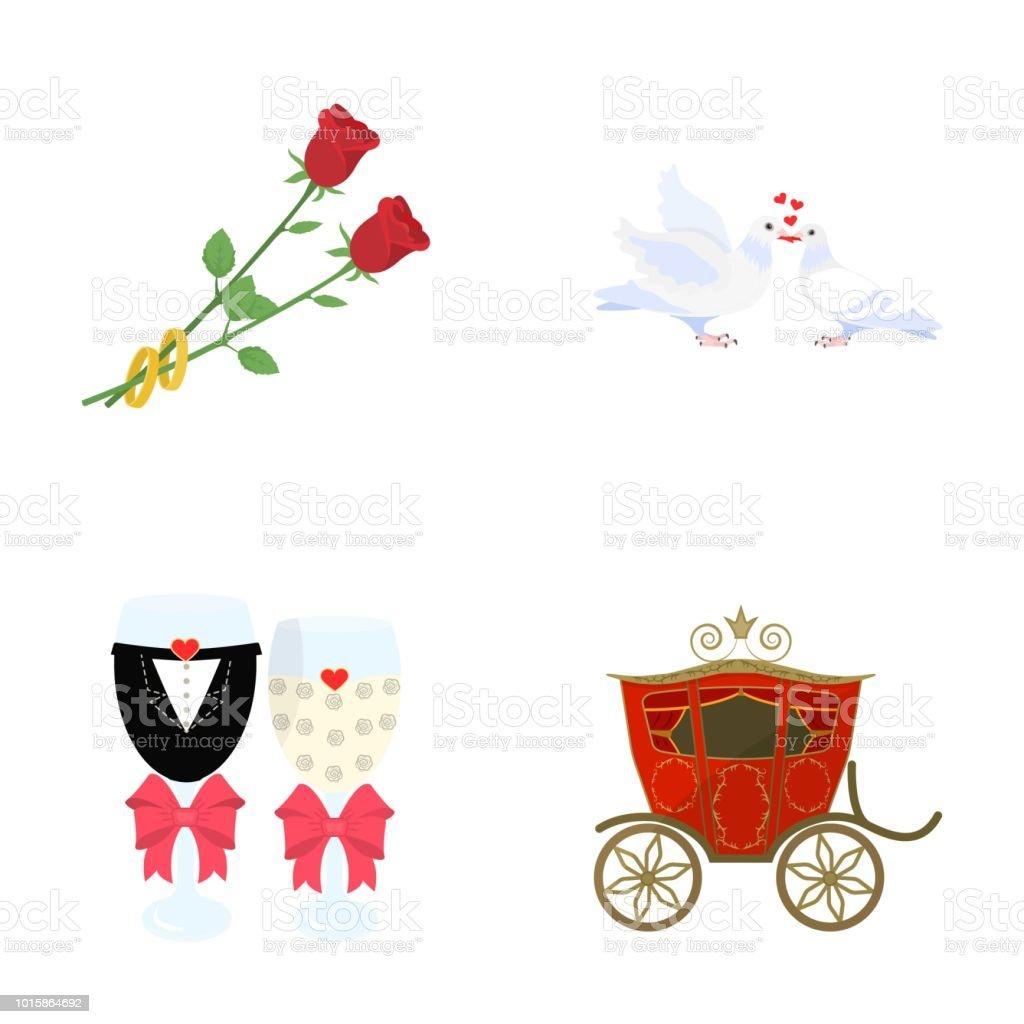 Zwei Rote Rosen Mit Ringen Tauben Mit Herz Hochzeit Glaser Mit Bogen