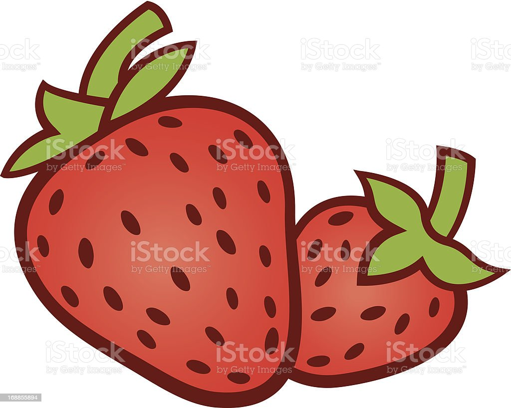 Two red strawberries in spring royalty-free stock vector art