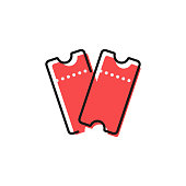 istock Two Red Tickets Icon Flat Design on White Background. 1208309813
