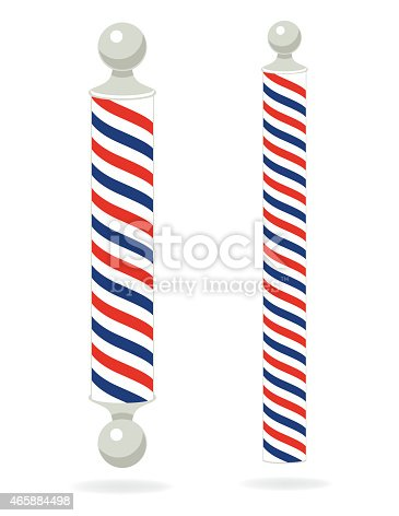 istock Two Red,White,Blue, Barber Poles 465884498