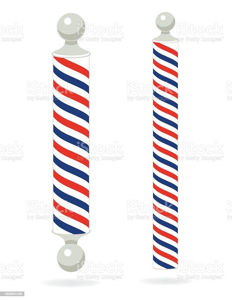 Two Red,White,Blue, Barber Poles vector art illustration