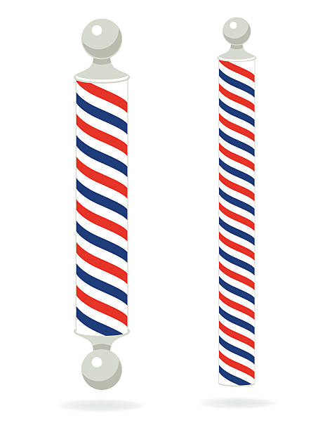 Two Red,White,Blue, Barber Poles vector art illustration