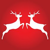 Two Reindeer on red background