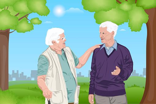 Two retired elderly men walking at park