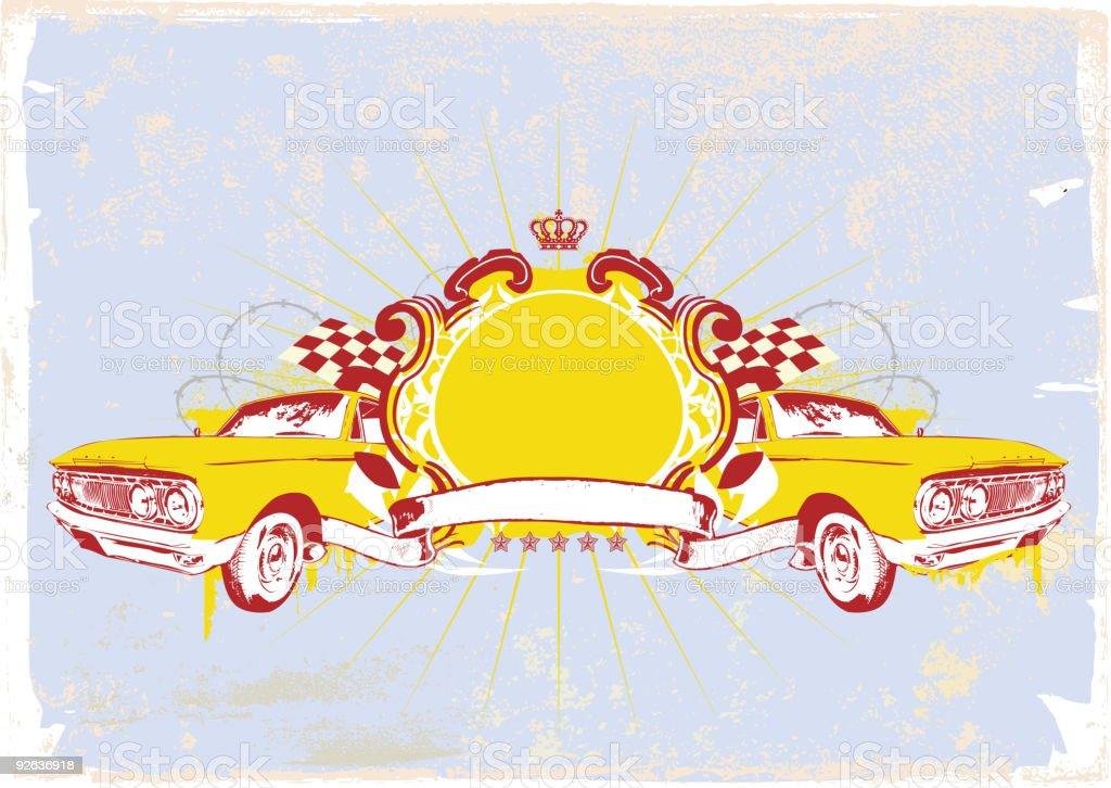 two retro cars royalty-free stock vector art