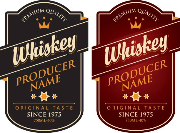 two retro labels for whiskey in the curly frame vector art illustration
