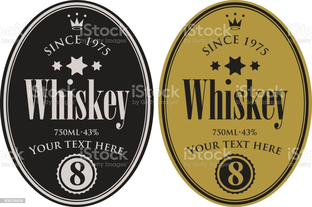 two retro labels for whiskey in the oval frame vector art illustration