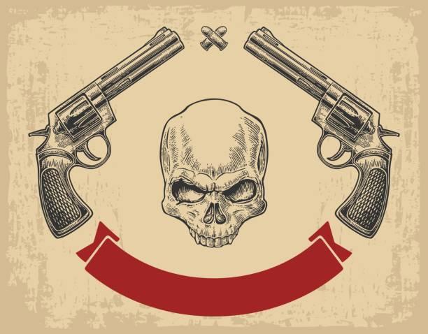 zwei revolver mit kugeln, schädel und band. - kopfschüsse stock-grafiken, -clipart, -cartoons und -symbole