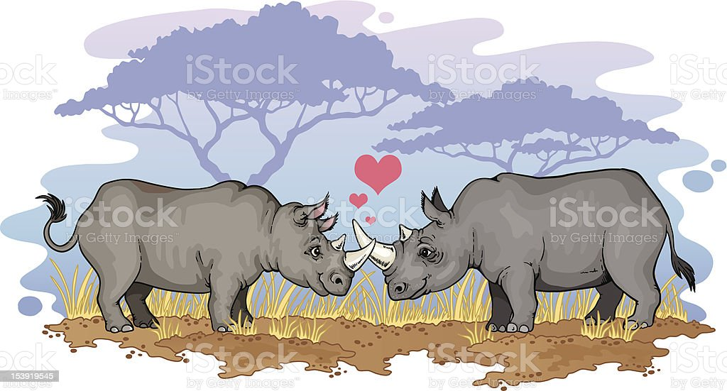 Two rhinos in love vector art illustration