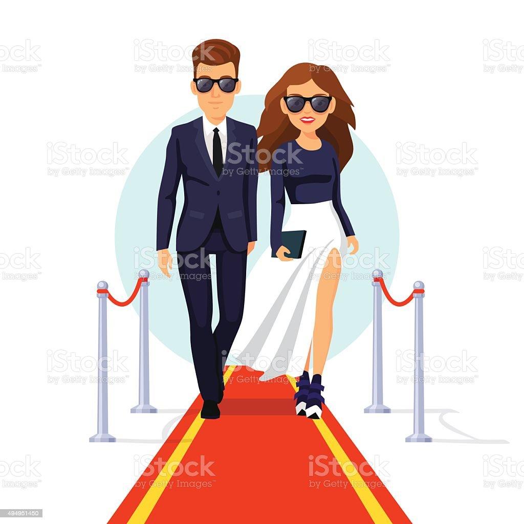 Dos tonos de celebridades en la alfombra roja corta - ilustración de arte vectorial